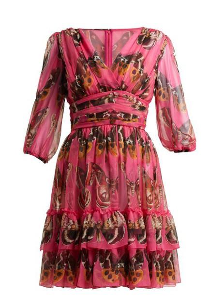 Dolce & Gabbana - Butterfly Print Silk Chiffon Mini Dress - Womens - Pink Print