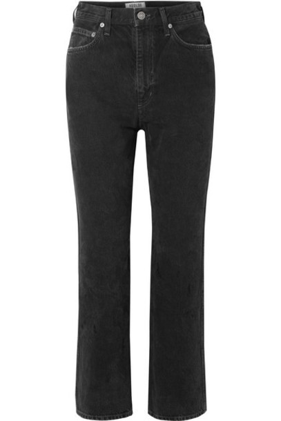 AGOLDE - Pinch Waist Cropped High-rise Flared Jeans - Black