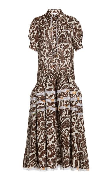Rosie Assoulin Paisley Linen Midi Shirt Dress in print