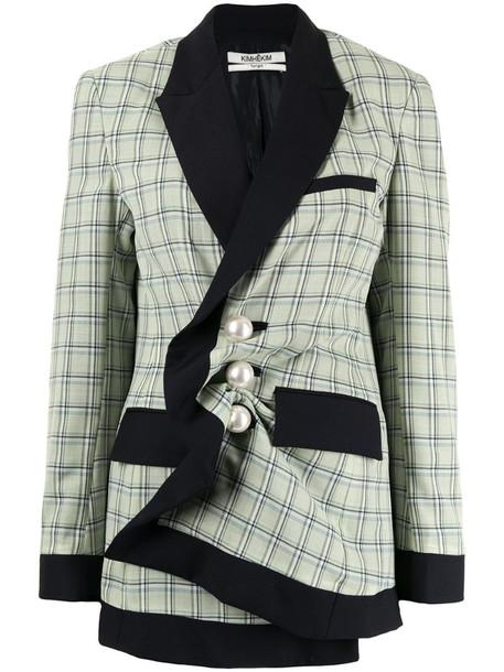 Kimhekim check-pattern single-breasted blazer in green
