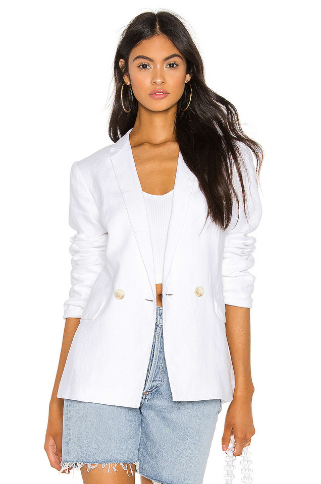 1. STATE Relaxed Fit Linen Blazer in white