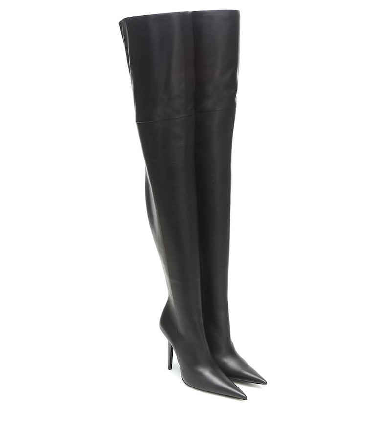 Balenciaga Knife Shark over-the-knee leather boots in black
