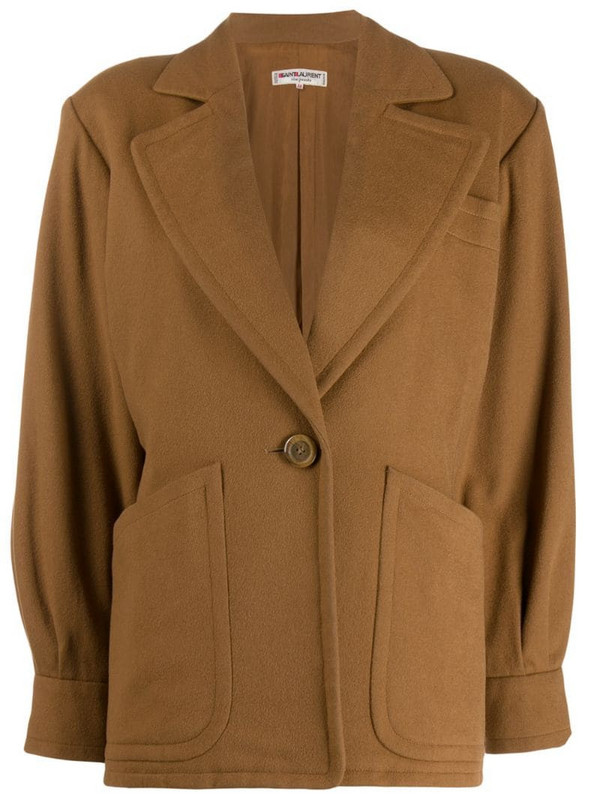 Yves Saint Laurent Pre-Owned 1980s one button jacket in brown