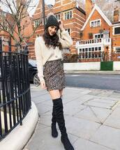 skirt,mini skirt,leopard print,black boots,over the knee boots,white cardigan,knitted cardigan,grey beanie