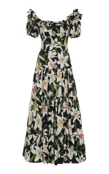 Dolce & Gabbana Off-The-Shoulder Floral-Print Cotton-Voile Maxi Dress
