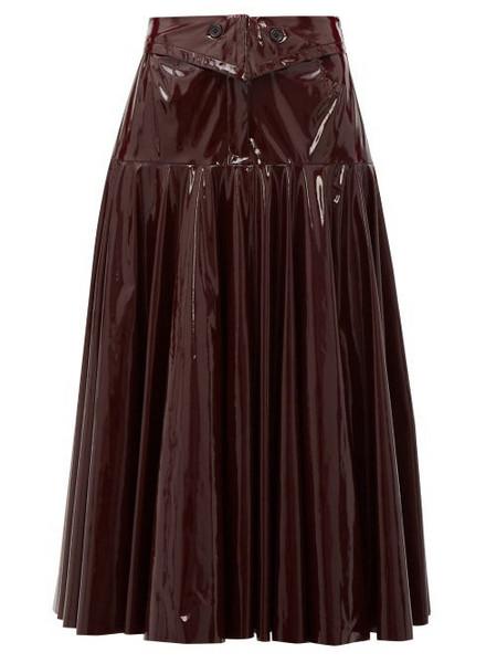 Palmer/harding Palmer//harding - Gathered Pvc Midi Skirt - Womens - Burgundy