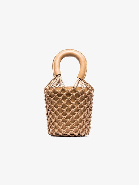 Staud nude Moreau woven leather bucket bag in neutrals