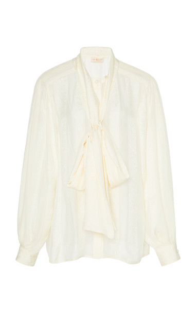 Tory Burch Floral Chiffon Bow Blouse Size: 00 in white