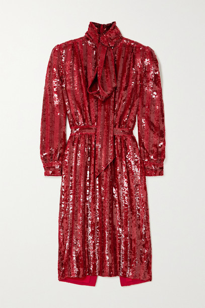 SAINT LAURENT - Pussy-bow Striped Sequined Silk-crepe Midi Dress - Red