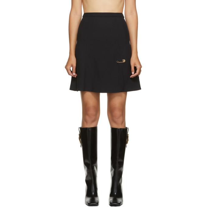 Versace Black Crepe Pin Flare Skirt in nero
