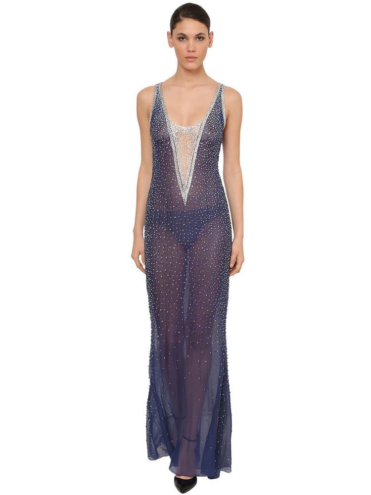AZZARO Crystal Embellished Silk Chiffon Dress in blue