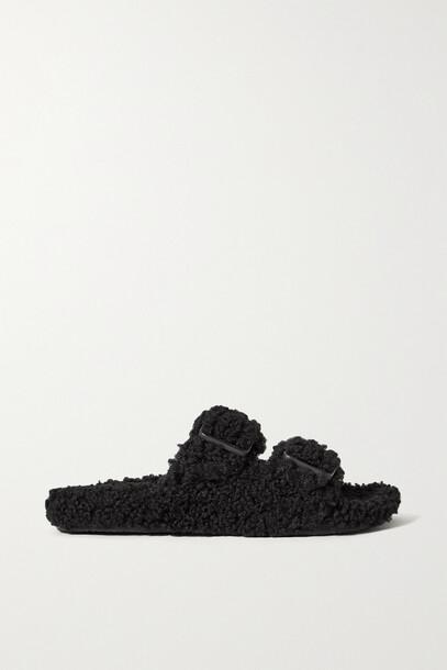 Balenciaga - Mallorca Recycled Faux Shearling Slides - Black