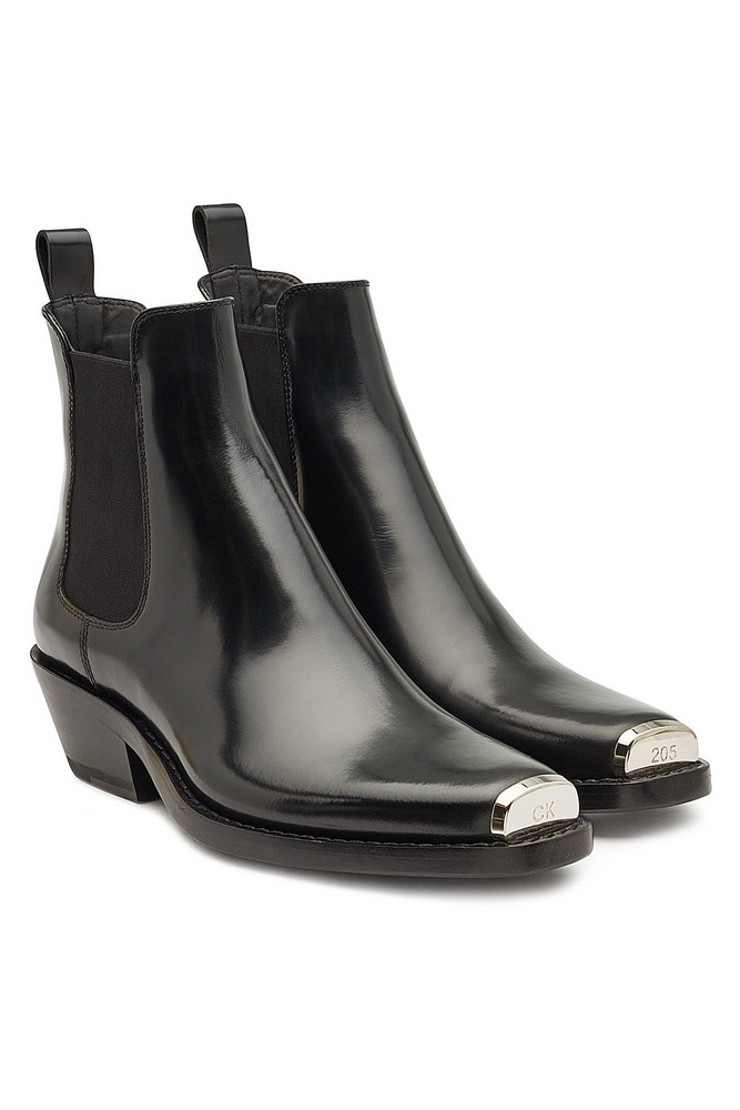 CALVIN KLEIN 205W39NYC Leather Ankle Boots  in black