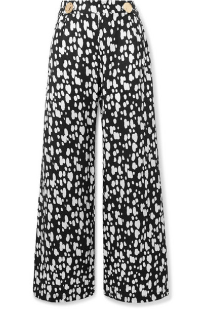 Mother of Pearl - Embellished Printed Lyocell Wide-leg Pants - Black