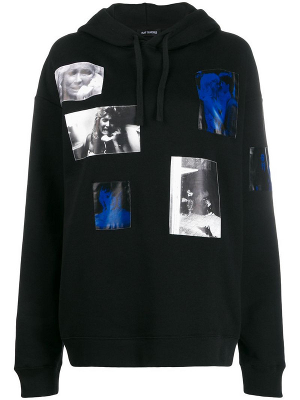 Raf Simons patch photo hoodie in black