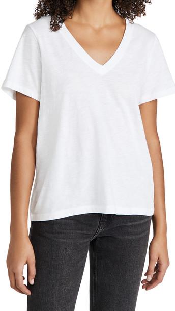 Madewell Whisper Cotton V Neck Tee in white