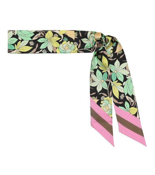 Fendi Floral silk scarf in green