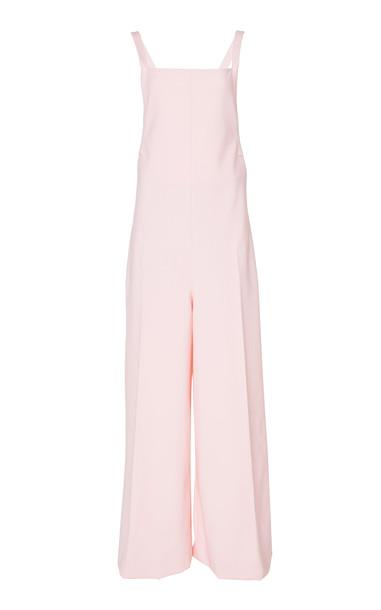 Adam Lippes Open Back Wool Blend Jumpsuit in pink