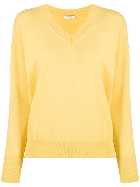 Peserico v-neck knit jumper in yellow