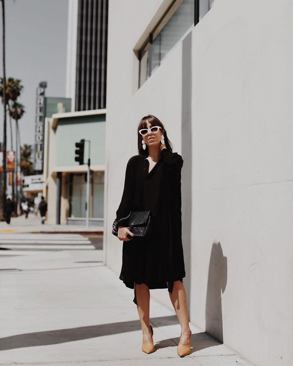 dress black dress midi dress long sleeve dress ankle boots black bag white sunglasses