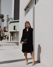 dress,black dress,midi dress,long sleeve dress,ankle boots,black bag,white sunglasses
