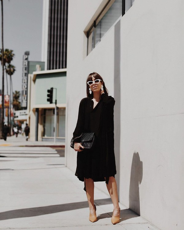 dress black dress midi dress long sleeve dress ankle boots black bag white sunglasses