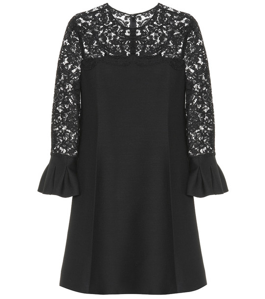 Valentino Lace wool and silk dress in black