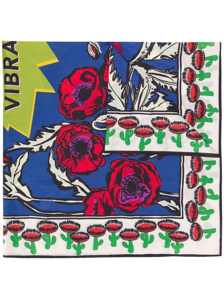 La Doublej Big Blooms print scarf in blue