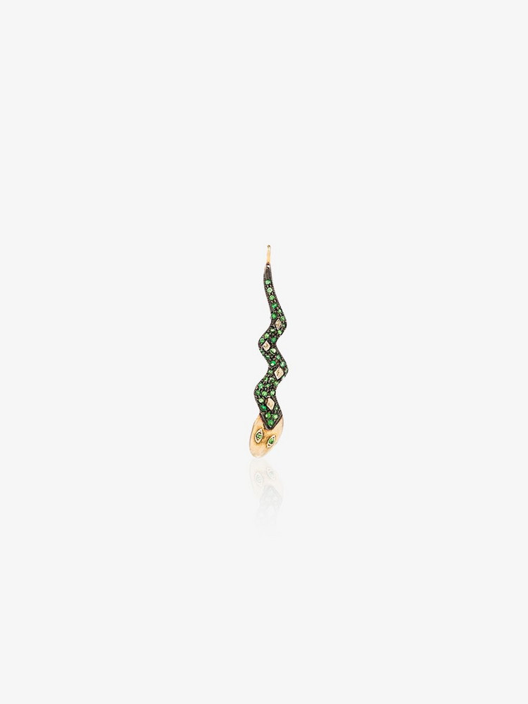 Jessie Western gold tone snake diamond pendant in metallic