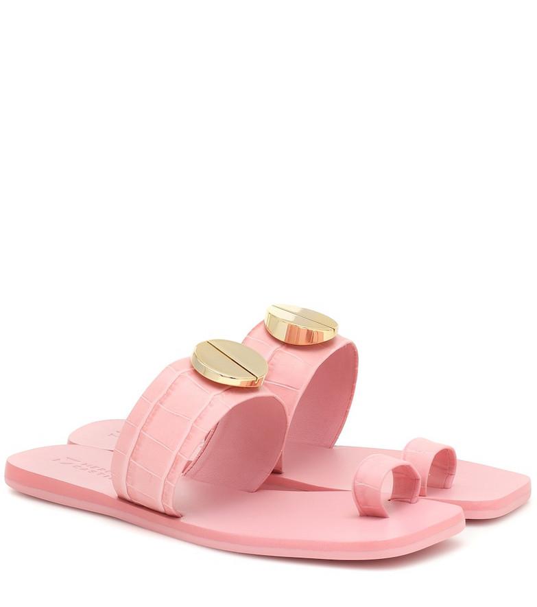 Mercedes Castillo Nolene embossed leather sandals in pink