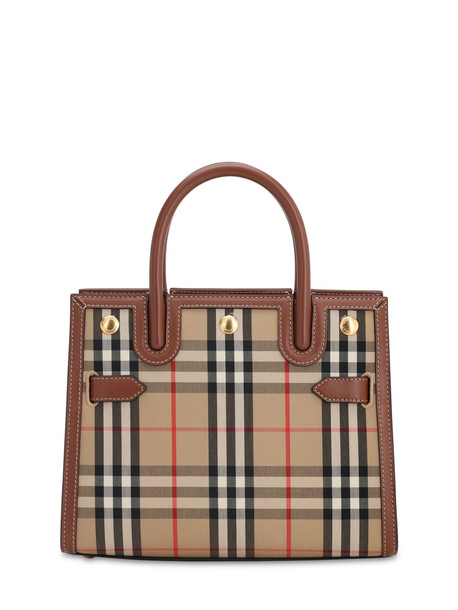 BURBERRY Sm Title Vintage Check Top Handle Bag in beige