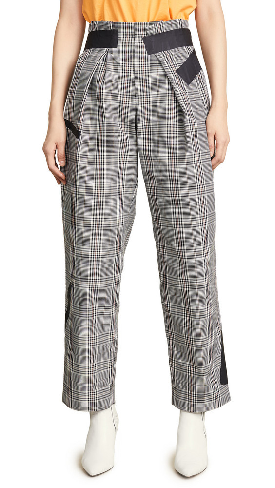 Kolor Check Trousers in white