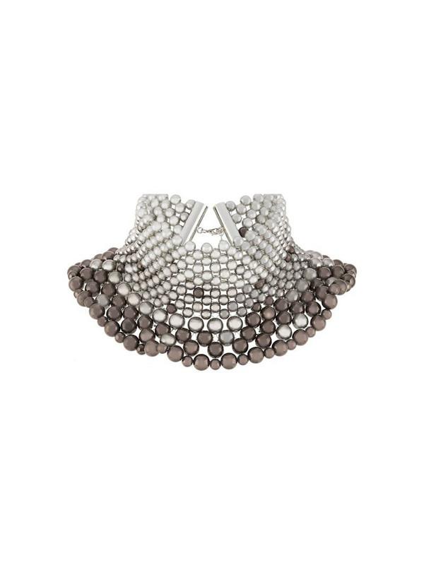 Sunnei beaded collar necklace in grey