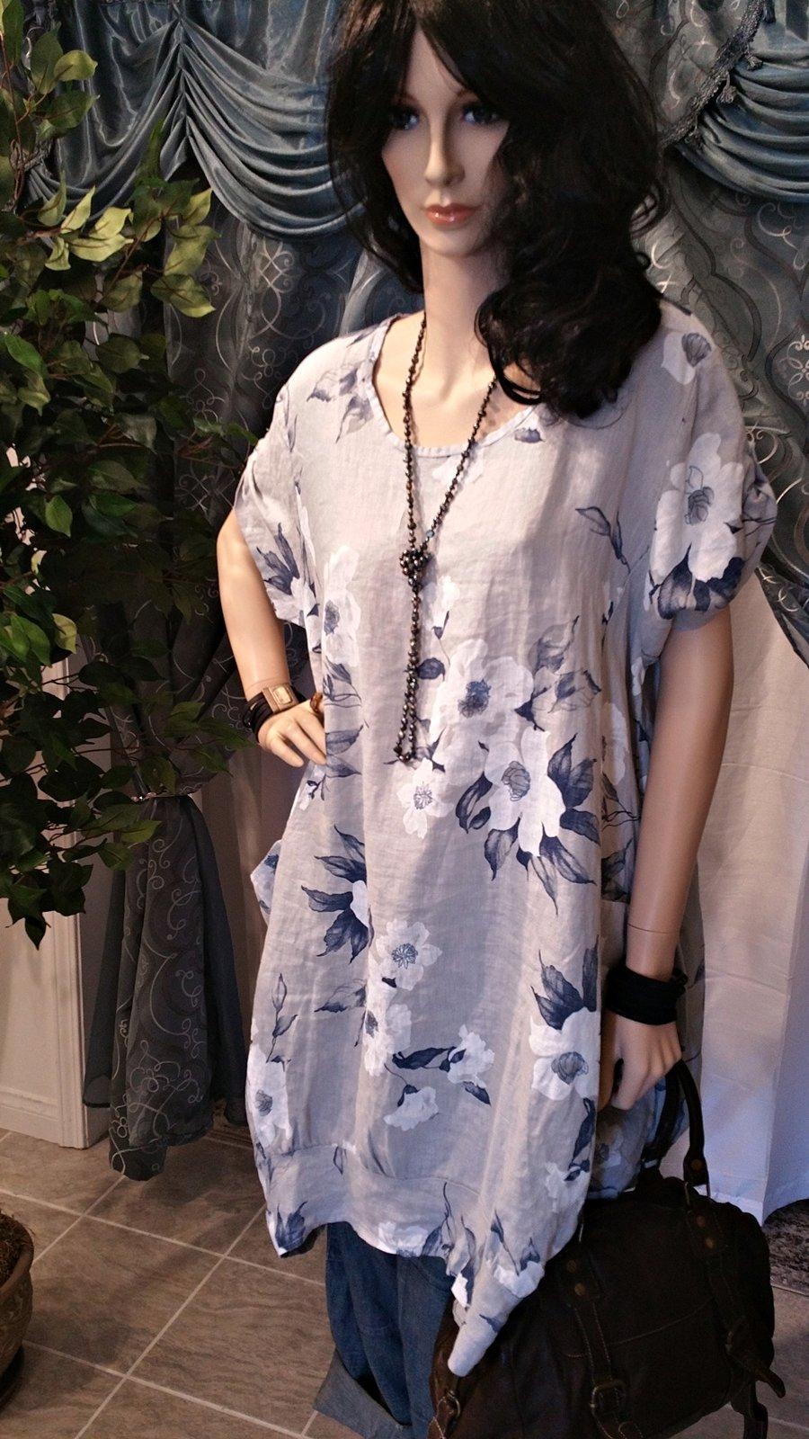 Gray & Blue Floral Linen Lagenlook One Size/Plus Size Tunic Dress - Boho Style, https://kollekcio.com