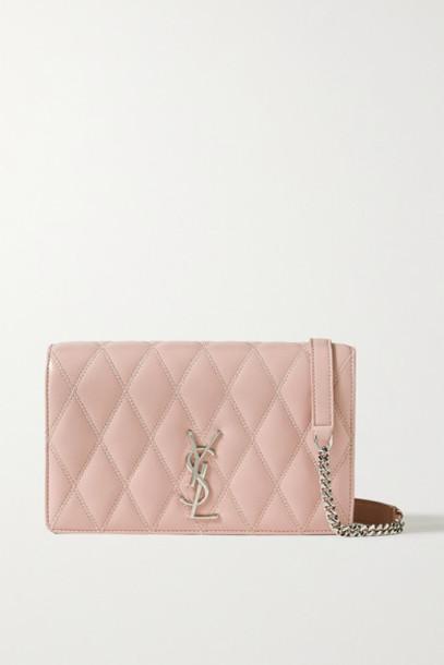 SAINT LAURENT - Angie Quilted Leather Shoulder Bag - Pink