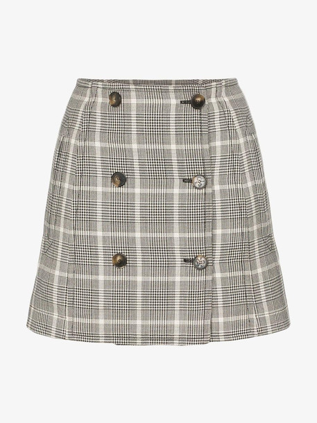 Stella McCartney Double Button Check Print Wool Mini Skirt