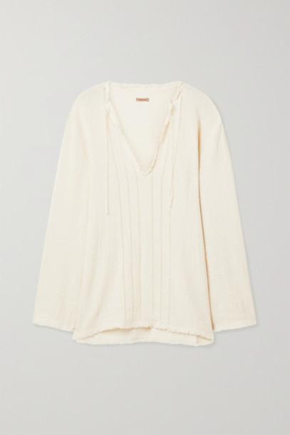 Caravana - Hubiku Fringed Cotton-gauze Top - Off-white