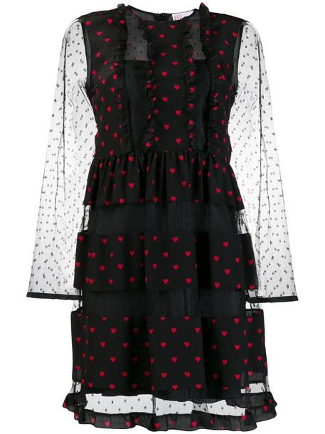 RED Valentino heart print ruffled dress in black