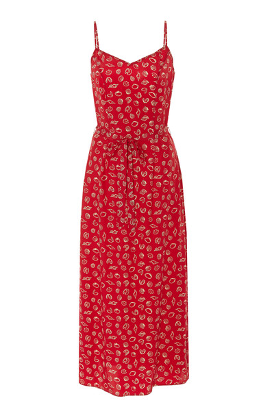 HVN Josephine Printed Silk Crepe De Chine Slip Dress in print