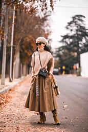 hallie daily,blogger,skirt,sweater,bag,shoes,sunglasses,scarf,midi skirt,knitted sweater,winter outfits,beret