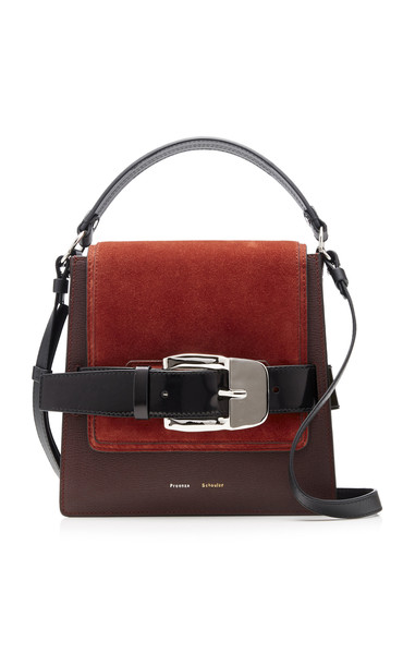 Proenza Schouler Buckle Trapeze Suede-Paneled Leather Bag in burgundy