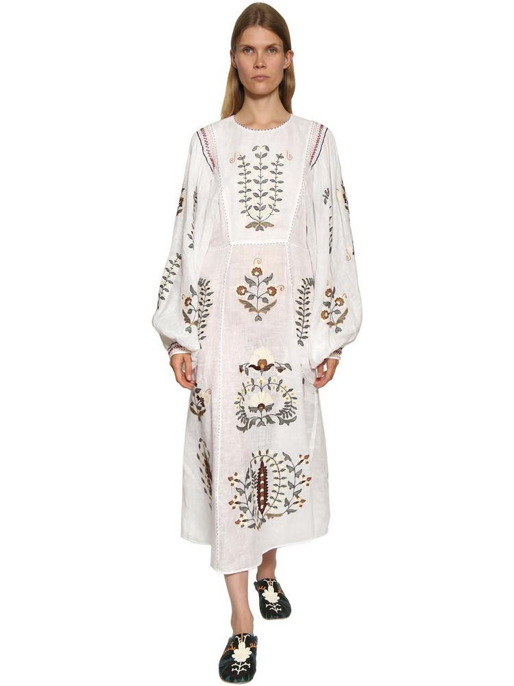 VITA KIN Flower Embroidered Linen Blend Dress in white / multi