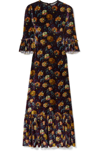 The Vampire's Wife - Festival Ruffled Tiered Floral-print Velvet Maxi Dress - Burgundy