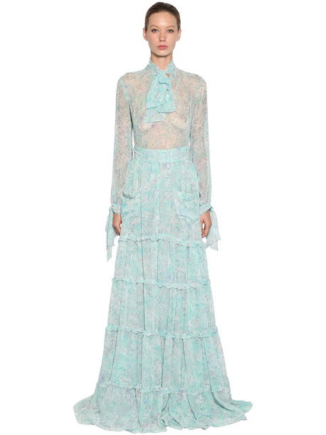 LUISA BECCARIA Floral Print Sheer Georgette Shirt W/bow in blue