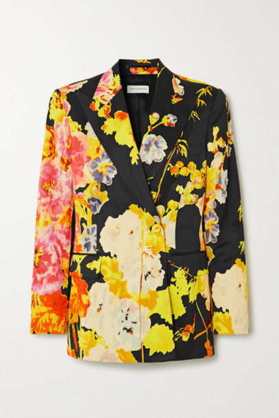 Dries Van Noten - Christian Lacroix Balto Double-breasted Floral-print Satin Blazer - Black