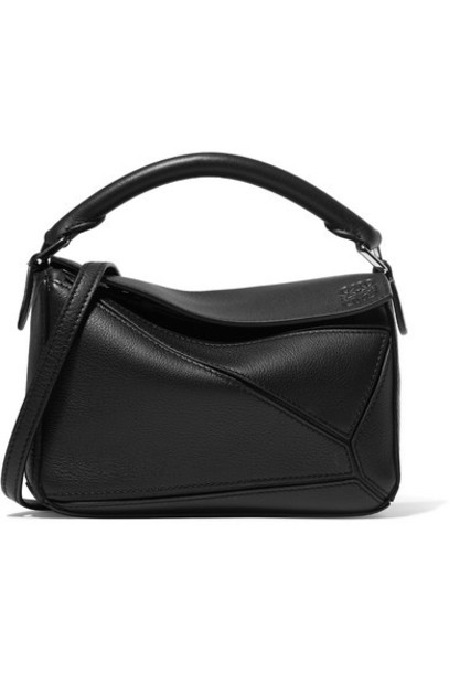 Loewe - Puzzle Mini Textured-leather Shoulder Bag - Black