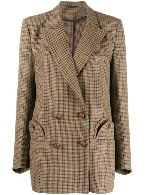 Blazé Milano peak-lapel double-breasted blazer in brown