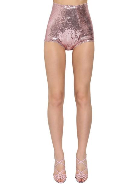 DOLCE & GABBANA High Waist Sequined Shorts in pink