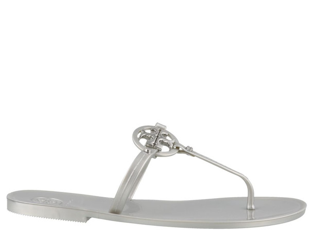Tory Burch Mini Miller Flat Thong Sandals in silver