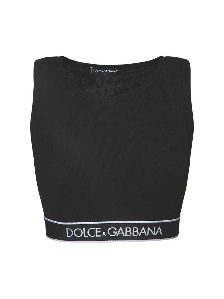 DOLCE & GABBANA Stretch Cotton Top W/ Logo Hem in black